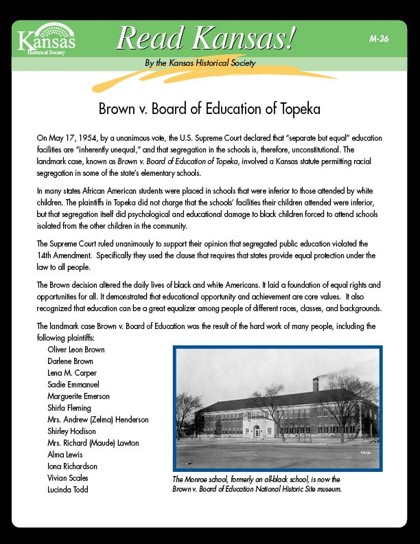 a history of the brown vs the board of education case