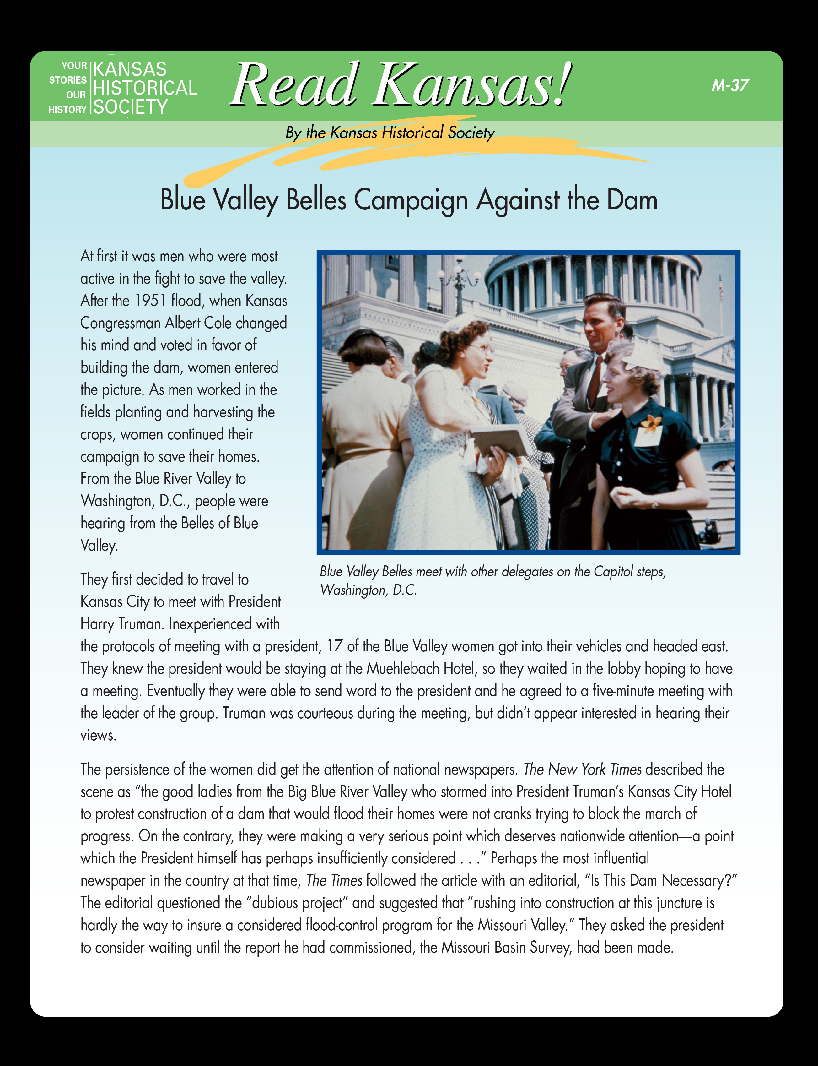 M-37 Blue Valley Belles Campaign Against the Dam