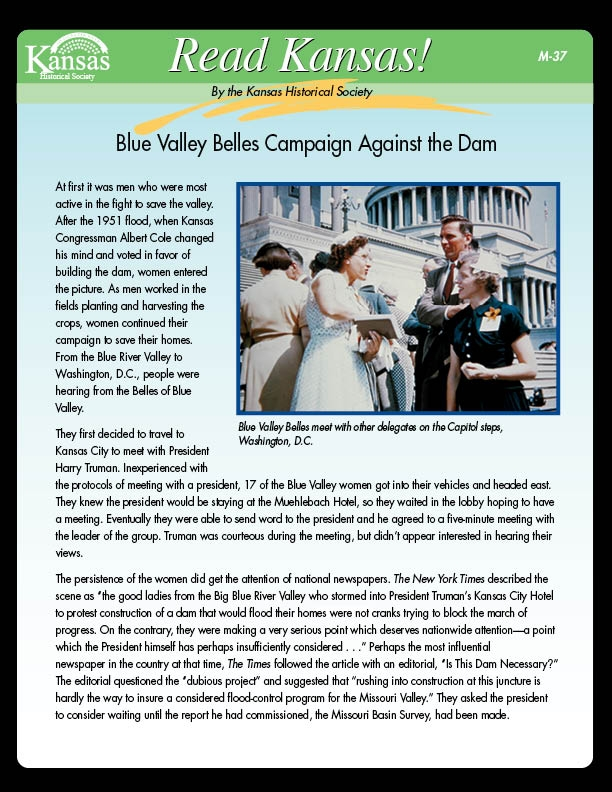 Blue Valley Belles Campaign Against the Dam