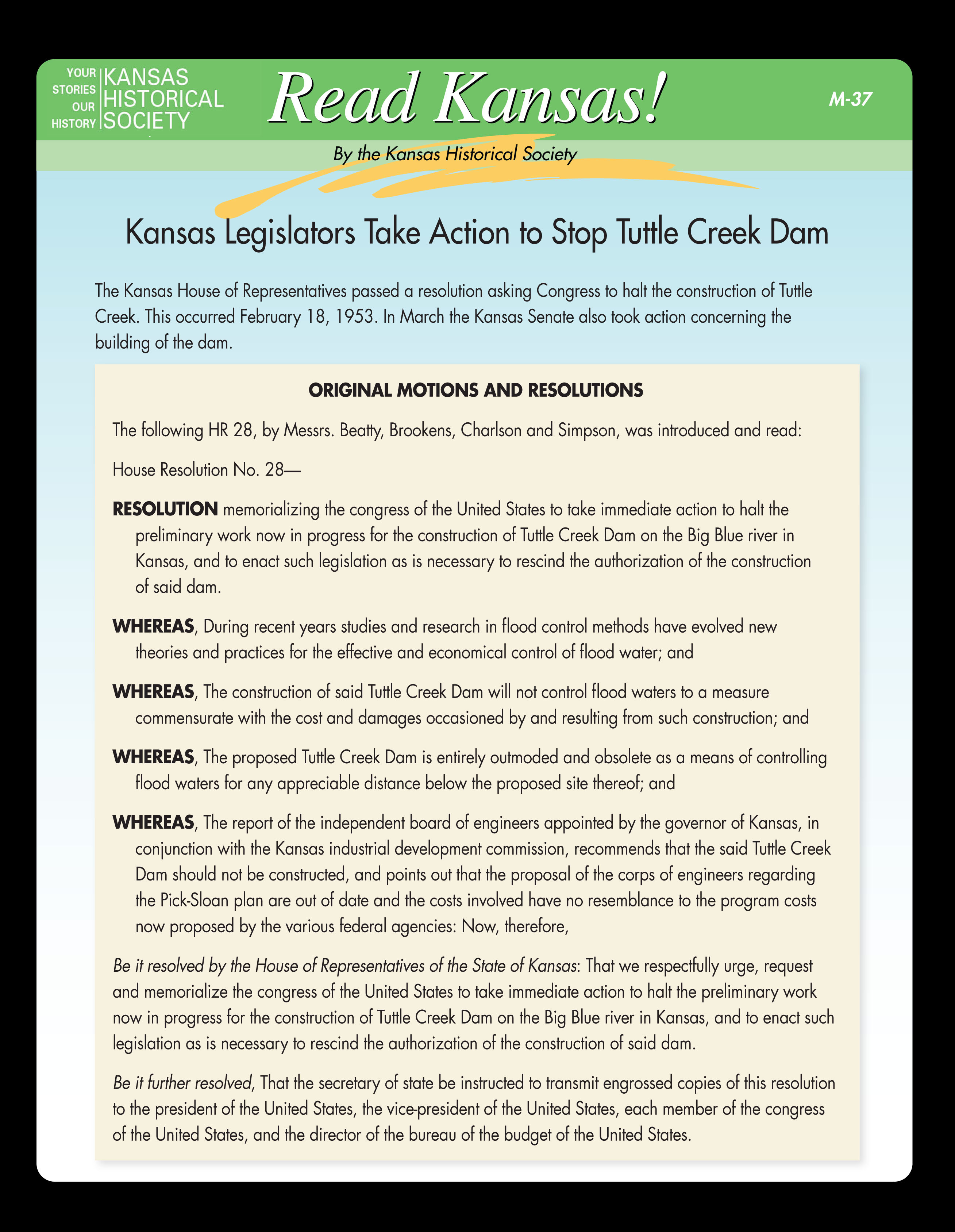 M-37 Kansas Legislators Take Action to Stop Tuttle Creek Dam