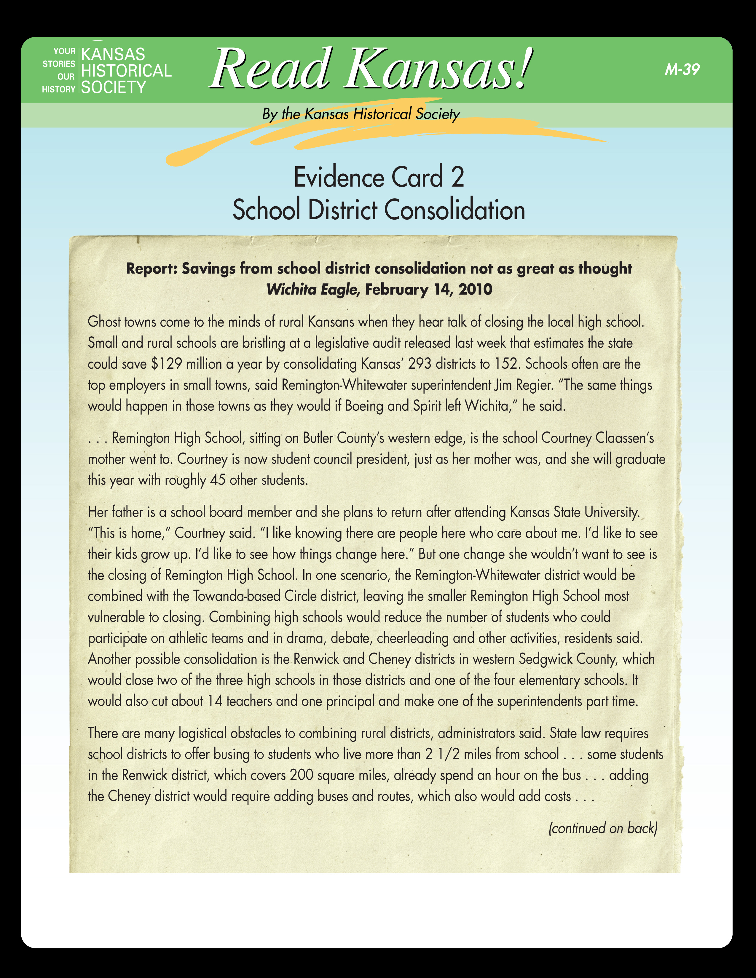 M-39 Evidence Card 2: School District Consolidation