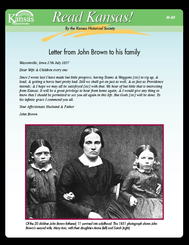 Letter from John Brown to his family