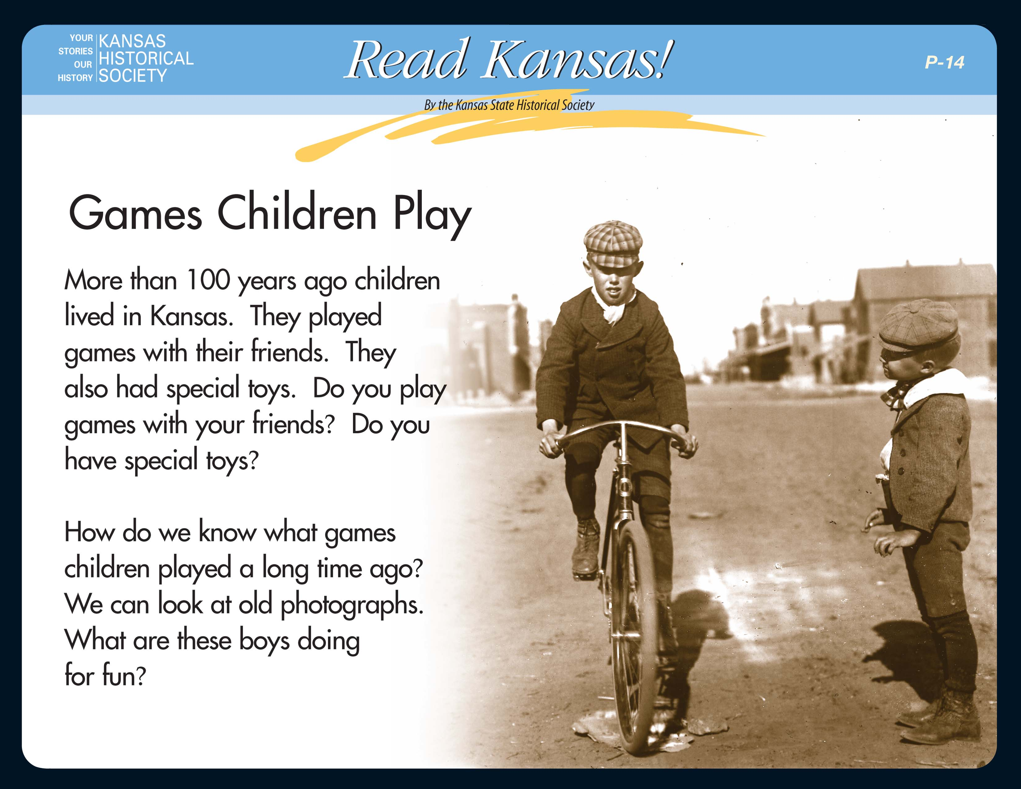 Read Kansas! Primary - P-14 Games Children Play: Then and