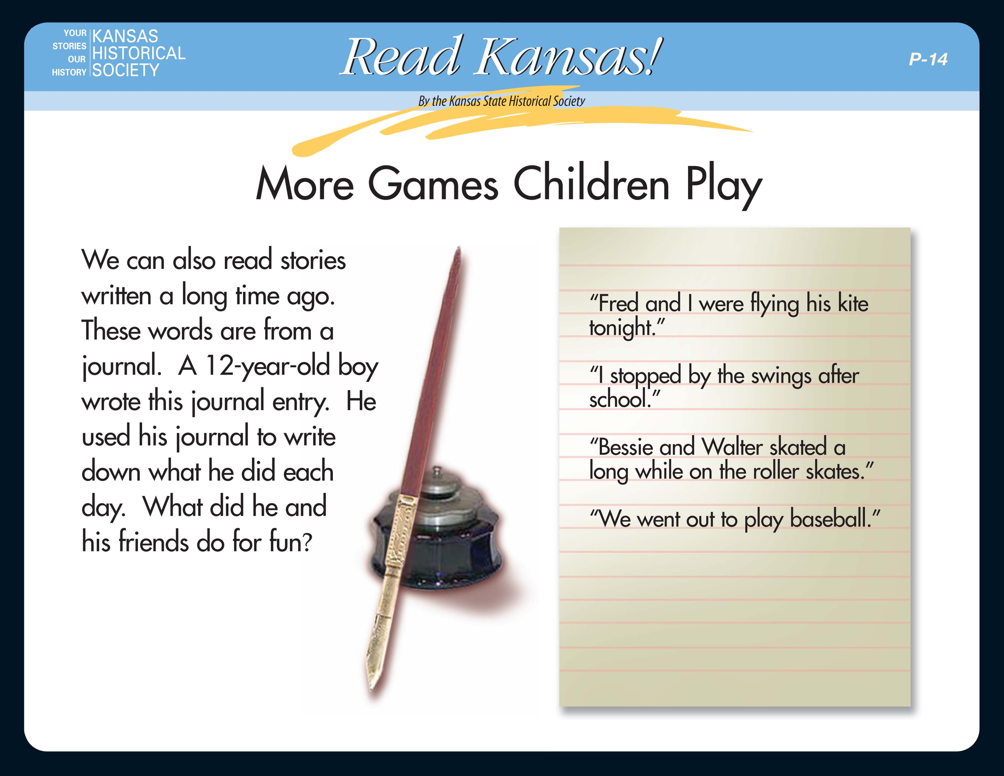 Read Kansas! Primary - P-14 Games Children Play: Then and Now