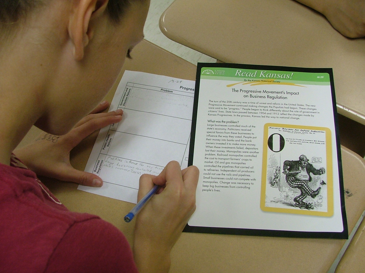 Student works with Read Kansas lesson