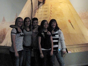 Phillipsburg 8th graders at Indian tipi